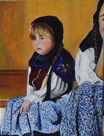 Das mädchen, Malerei, Portrait, Mädchen