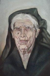 Griechin, Frau, Alt, Pastellmalerei