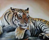 Tiger, Acrylmalerei, Katze, Malerei