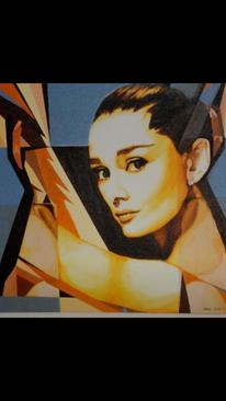 Frau, Malerei, Portrait, Audrey hepburn