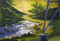 Wald, Acrylmalerei, Gemälde, Bach