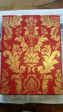 Gold, Barock ohne wein, Acrylmalerei, Rot