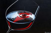 Wein, Schwarz, Acrylmalerei, Weinglas