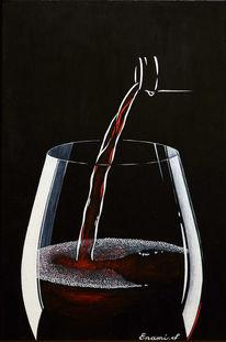 Weinglas, Schwarz, Rotwein, Acrylmalerei