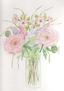 Pfingstrosen, Blumenstrauß, Vase, Apfelblüten
