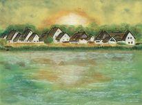 Abendhimmel, Neuendorf, Ostsee, Reet