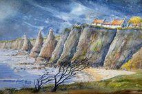 Meer, Aquarellmalerei, Felsen, Highlands