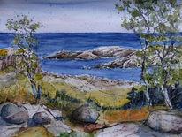 Bornholm, Küste, Aquarellmalerei, Ostsee