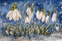 Schnee, Aquarellmalerei, Pflanzen, Schneeglöckchen
