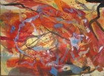 Ocker, Informel, Abstrakt, Aquarellmalerei