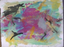 Abstrakter expressionismus, Informel, Abstrakte malerei, Rosa