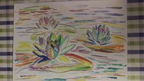 Abstrakt, Malerei, Blumen, Aquarell