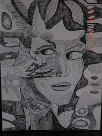 Mischtechnik, Zeichnung, Portrait abstrakt, Zeichnungen