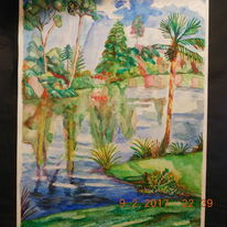 Erste gehversuche, Tropenlandschaft, Aquarellmalerei, Aquarell
