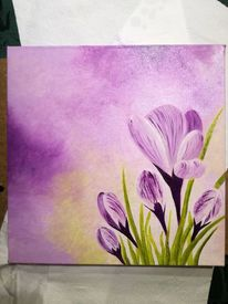 Krokus, Frühling, Lila, Malerei