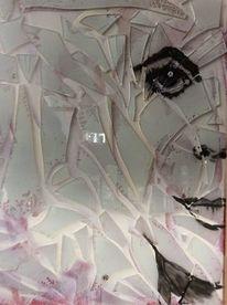Scherbe, Glas, Portrait, Frau