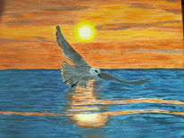 Meer, Sonnenuntergang, Wasser, Malerei
