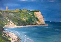 Malerei, Wasser, Landschaft, Steilküste