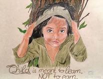 Holz, Kinderarbeit, Zeichnung, Portrait