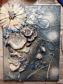 Blau, Acrylmalerei, Silber, Wischtechnik