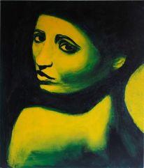 Frau, Grün, Blick, Malerei