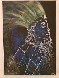 Indianerin, Abstrakt, Blauweiß, Zeichnungen