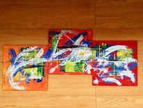 Blau, Malerei modern, Rot, Malerei acryl