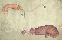 Buntstiftzeichnung, Katze, Tiere, Polychromos