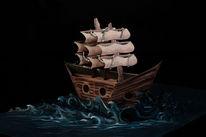 Modell, Schiff, 3d, Acrylmalerei