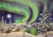 Nordlichter, Mond, Polarnacht, Aurora