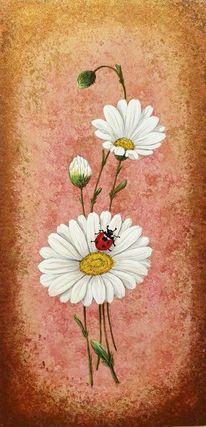 Marienkäfer, Blumen, Margerite, Malerei