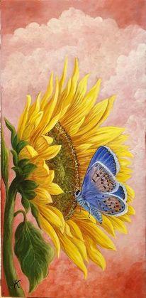 Sonnenblumen, Gossamer winged butterfly, Wolken, Bläuling