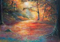 Licht, Acrylmalerei, Wald, Laub