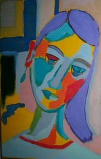 Mädchen, Portrait, Bunt, Temperamalerei
