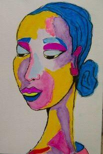 Violett, Frau, Aquarellmalerei, Portrait