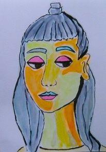 Mädchen, Aquarellmalerei, Grau, Orange