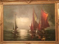 Segel, Signatur, Malerei, Segelboot