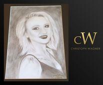 Weiß, Bleistiftzeichnung, Portrait, Schwarz