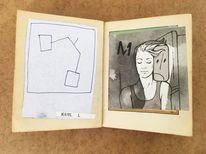 Zeichnung, Portrait, Abstrakt, Buchkunst