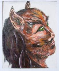 Portrait, Fantasie, Katze, Frau