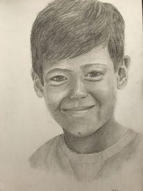 Junge, Bleistiftzeichnung, Portrait, Zeichnung