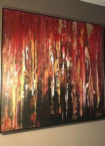 Gold, Acrylmalerei, Rot, Blattgold