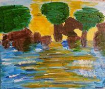 Wasser, Landschaft, Acrylmalerei, Malerei