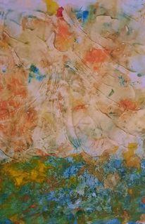 Blumenwiese, Tanz, Wind, Malerei