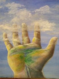 Hand, Himmel, Wolken, Malerei