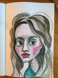 Weiblich, Zeichnung, Frau, Aquarellmalerei