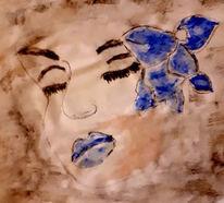 Blumen, Haare, Gesicht, Malerei