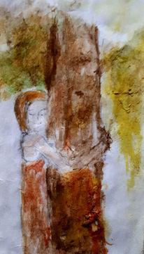 Baum, Menschen, Natur, Malerei