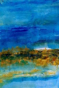 Hellblau, Blau, Braun, Malerei