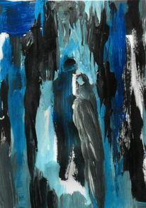 Schwarz, Menschen, Blau, Malerei